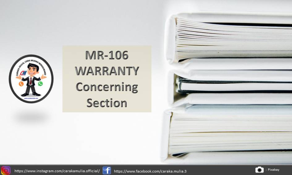MR-106 WARRANTY Concerning Section