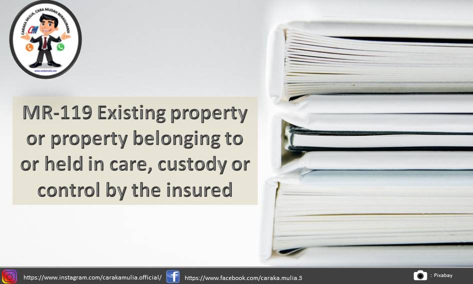 MR-119 Existing property or property belonging to or held in care custody or control by the insured